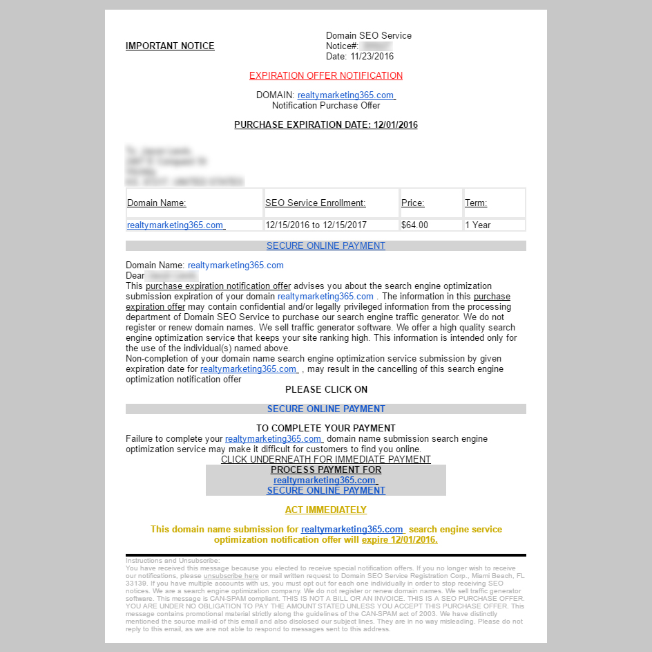 Domain SEO Service Scam