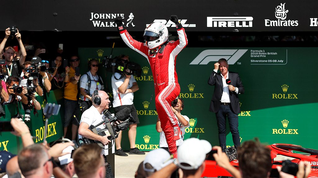 Sebastian Vettel celebrating his British Grand Prix victory
