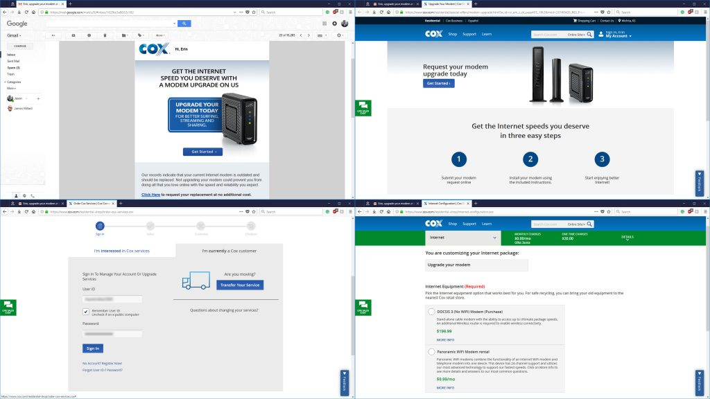 Cox Free Upgraded Modem Scam