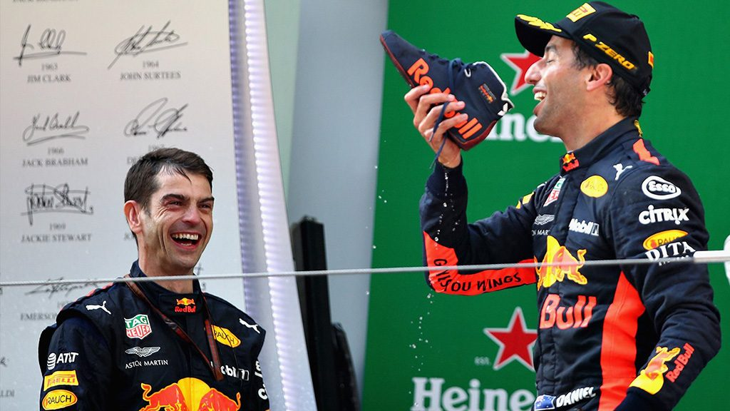 Daniel Ricciardo Celebrates Chinese Grand Prix Win With A Shoey