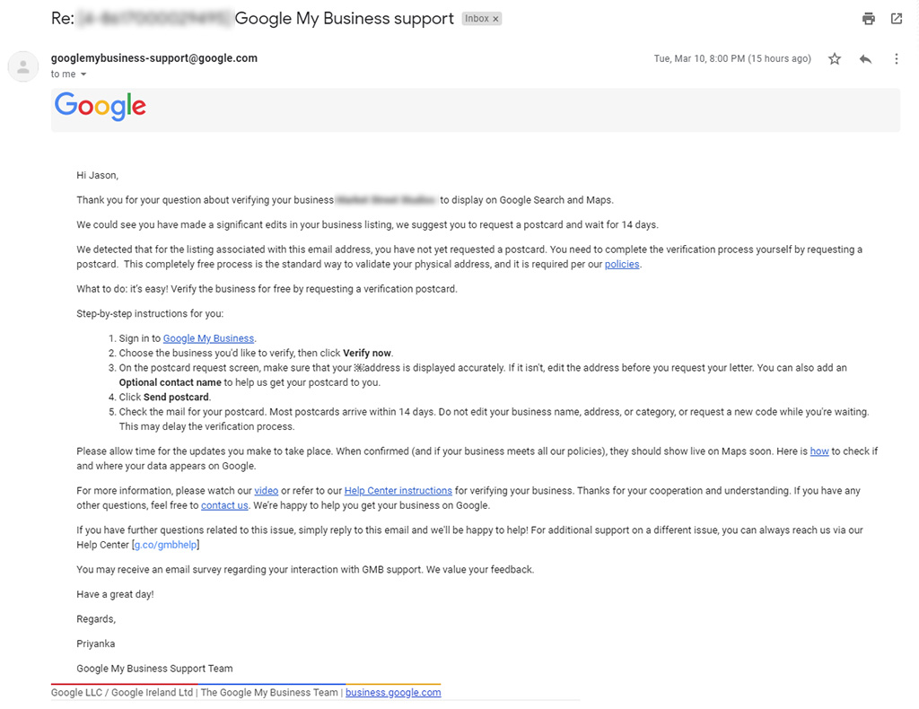 Google My Business Canned Response