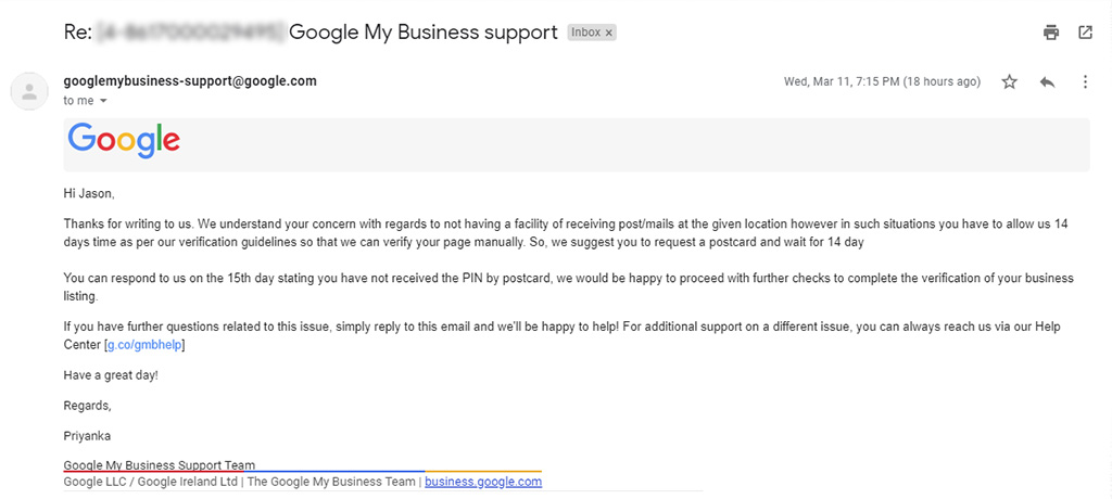 Google My Business Second Response