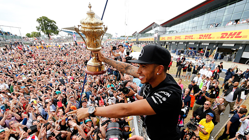 Lewis Hamilton Celebrates With His Fans After Winning British Grand Prix