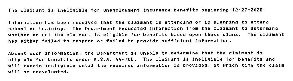 Kansas Department of Labor Unemployment Determination Letter