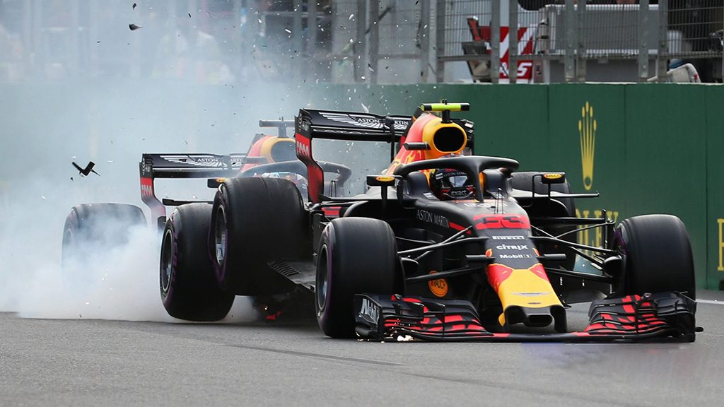 Ricciardo Rear Ends Verstappen At Azerbaijan Grand Prix 2018