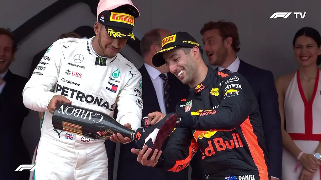 Daniel Ricciardo celebrates his hard fought victory at the Monaco Grand Prix 2018