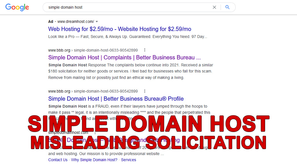 Simple Domain Host - Misleading Solicitation