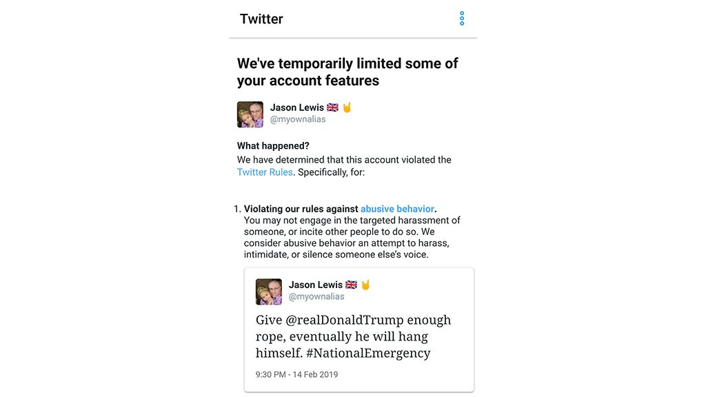 Twitter restricted my account for using a common idiom in reference to Donald J. Trump's fake national emergency.