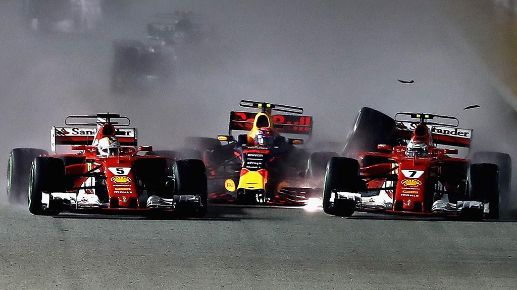 Vettel, Verstappen, Raikkonen Crash, Singapore GP 2017